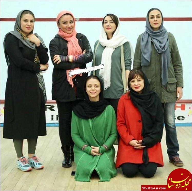 www.dustaan.com هانیه توسلی و سیما تیرانداز در تیم اسکواش هنرمندان +عکس