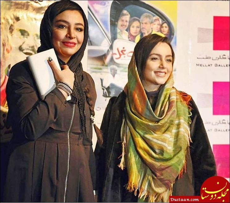www.dustaan.com مه لقا باقری و نازنین بیاتی در مراسم اکران «آینه بغل»