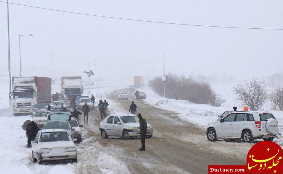 برف باعث مسدود شدن آزادراه قزوین-رشت و قزوین-زنجان شد +عکس