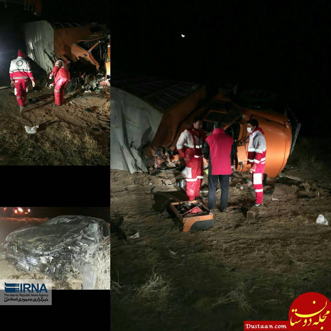 www.dustaan.com عاقبت تصادف خودروی سواری هیوندا با کامیون +عکس
