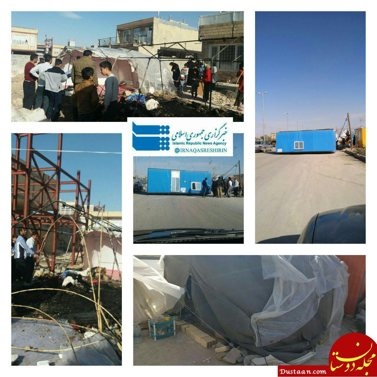 www.dustaan.com واژگونی تعدادی از کانکس زلزله زدگان در پی وقوع تندباد +عکس