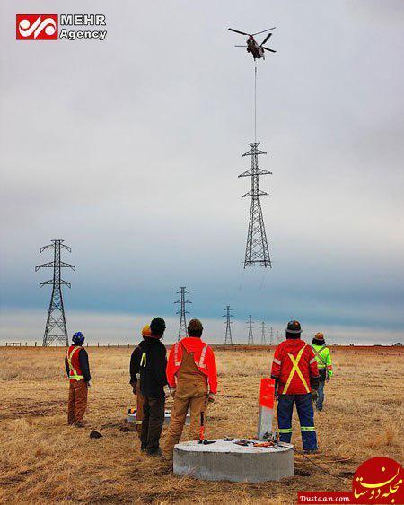 www.dustaan.com تصویری جالب از نصب دکل های بزرگ برق