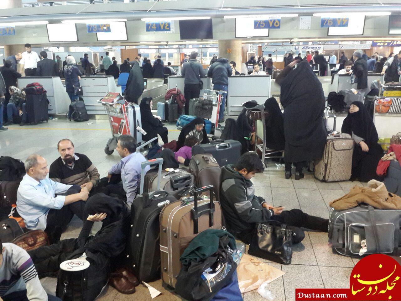 لغو ۲۰۰ پرواز  در فرودگاه های مهرآباد و امام / سرگردانی مسافران در فرودگاه +عکس