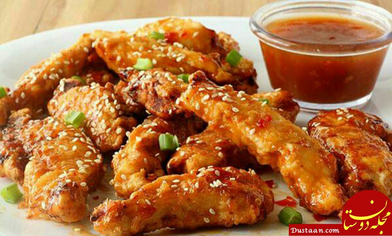 www.dustaan.com طرز تهیه فیله مرغ سوخاری با سس تایلندی؛ غذایی خوشمزه و متفاوت