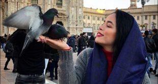کفتر بازی خانم بازیگر در خارج از ایران! +عکس