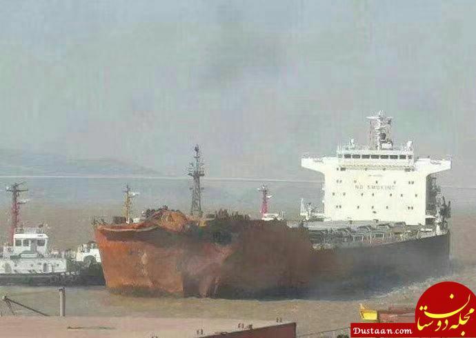 www.dustaan.com نخستین عکس از کشتی چینی که باعث سانحه نفتکش سانچی شد