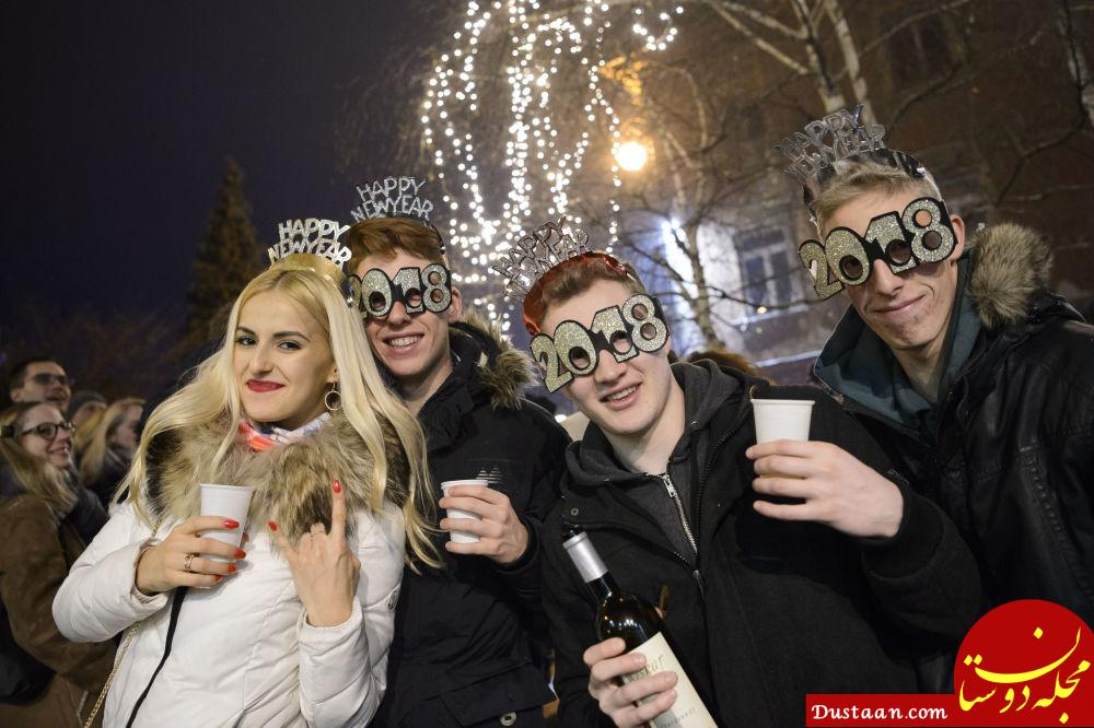 شرکت کنندگان در مراسم جشن سال نو در اسلووانی