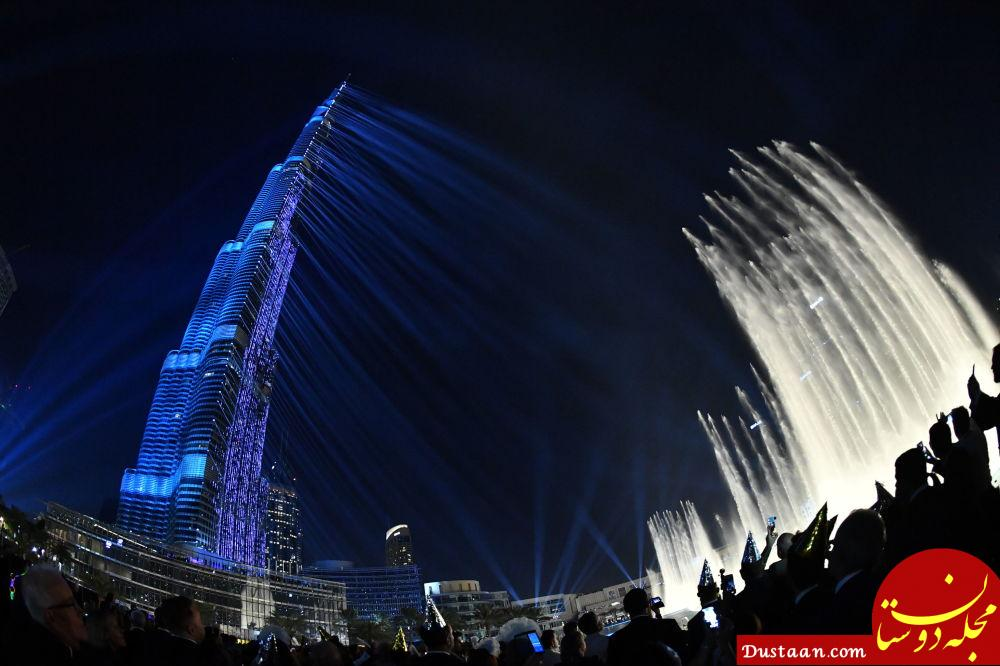 آتش بازی جشن سال نو در برج خلیفه امارات