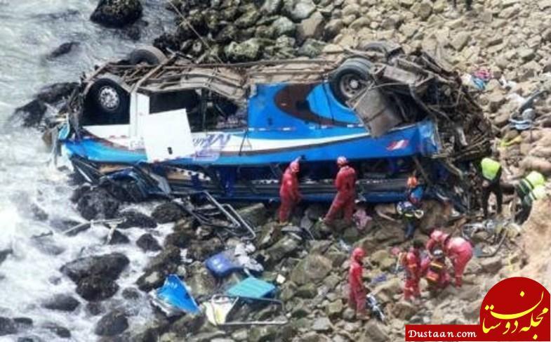 سقوط اتوبوس به دره 48 کشته برجای گذاشت +تصاویر