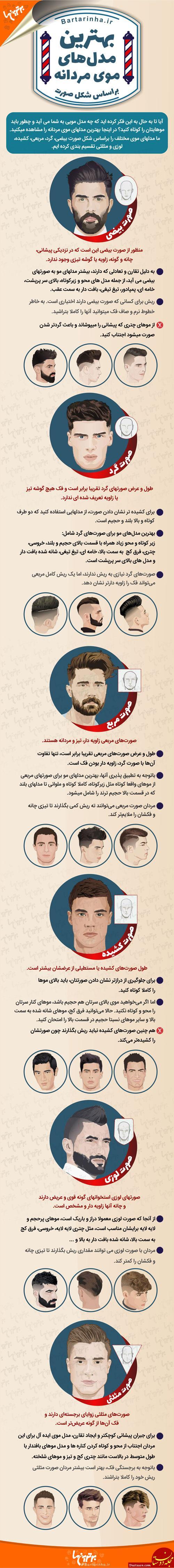 www.dustaan.com انواع مدلهای موی مردانه بر اساس شکل صورت + اینفوگرافی