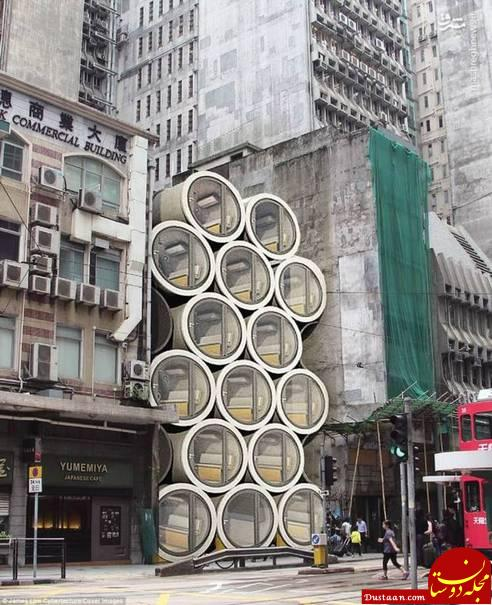 www.dustaan.com زندگی عجیب مردم هنگ کنگ در لوله های آب! +عکس