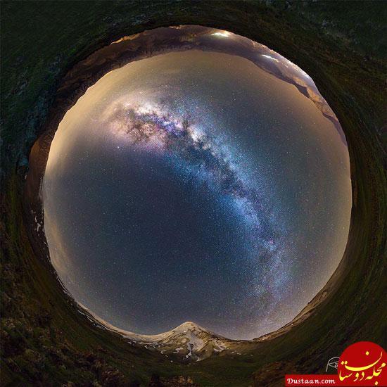 www.dustaan.com نمایی زیبا از قله دماوند و کهکشان راه شیری +عکس
