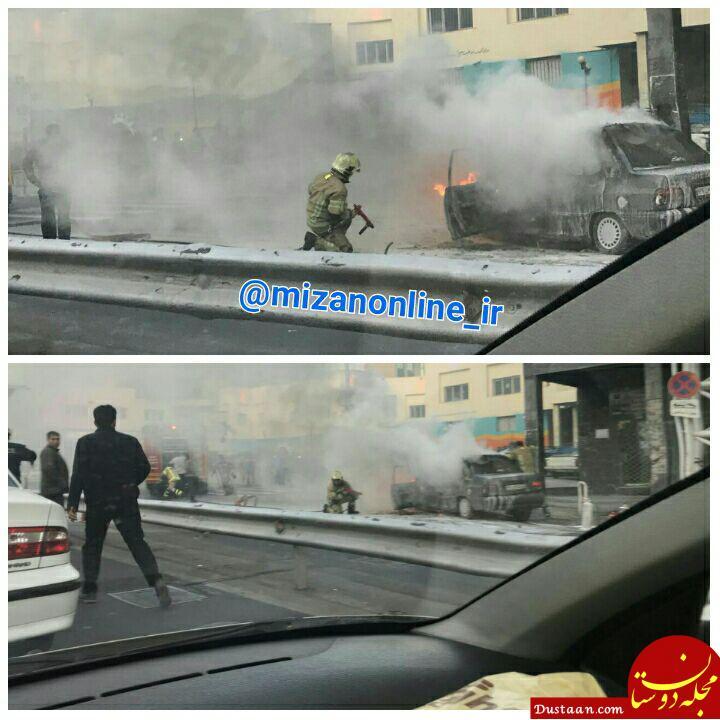 www.dustaan.com آتش سوزی پراید در اتوبان نواب +عکس