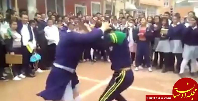 www.dustaan.com کتک کاری شدید دو دختر دانش آموز سوژه شد! +تصاویر