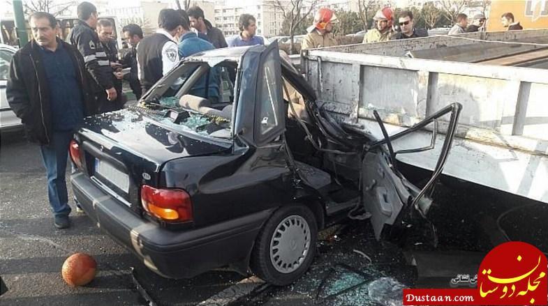 www.dustaan.com - نصف شدن پراید بعد از تصادف در بزرگراه ستاری +عکس
