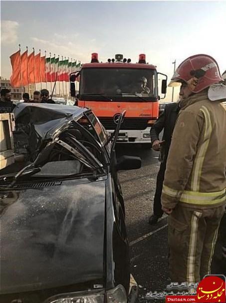 www.dustaan.com نصف شدن پراید بعد از تصادف در بزرگراه ستاری +عکس