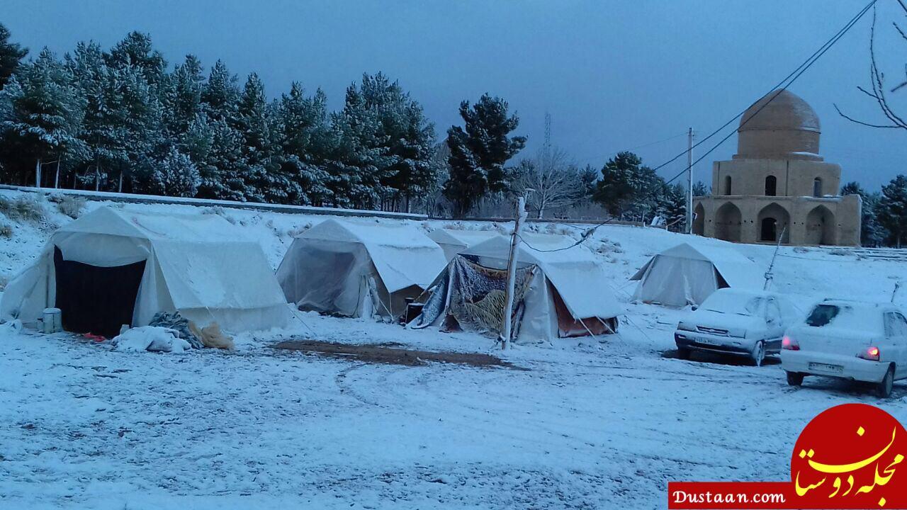www.dustaan.com بارش برف زمستانی در مناطق زلزله زده کوهبنان +عکس