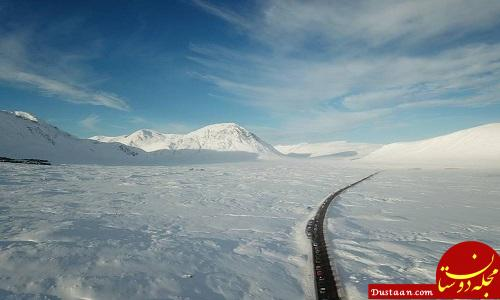 www.dustaan.com ترافیک یک کیلومتری در یخبندان +عکس