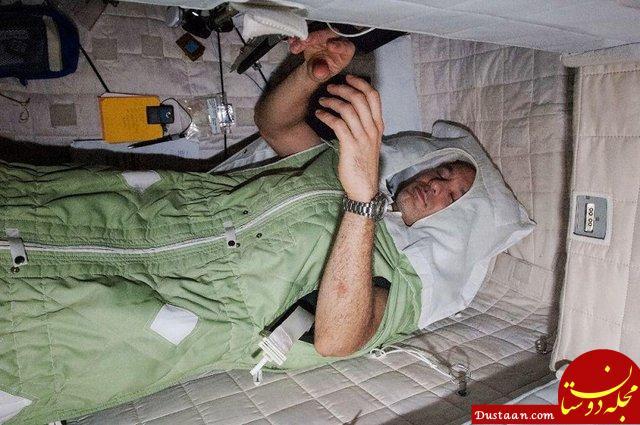 www.dustaan.com چالش های سخت فضانوردان برای خوابیدن در فضا +تصاویر