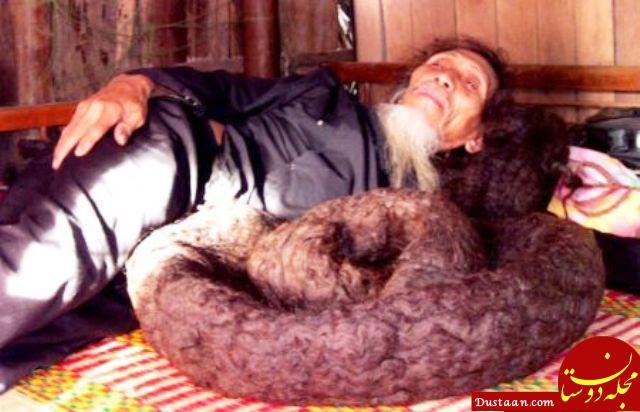 www.dustaan.com باور می کنید طول موهای این مرد 7 متر باشد؟! +تصاویر