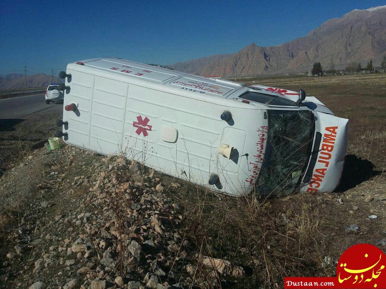 واژگونی آمبولانس حین انجام وظیفه در محور کامیاران – کرمانشاه +عکس