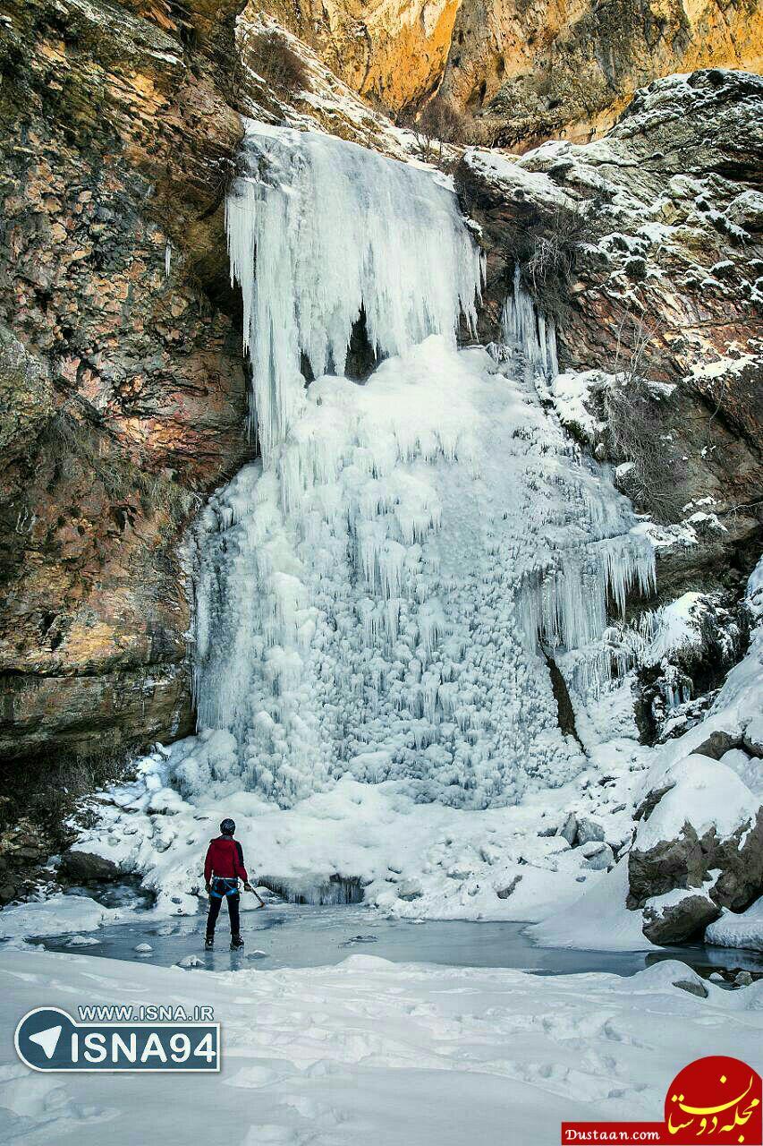 نمایی زیبا از آبشار یخ زده پیر آبرود در خرم آباد