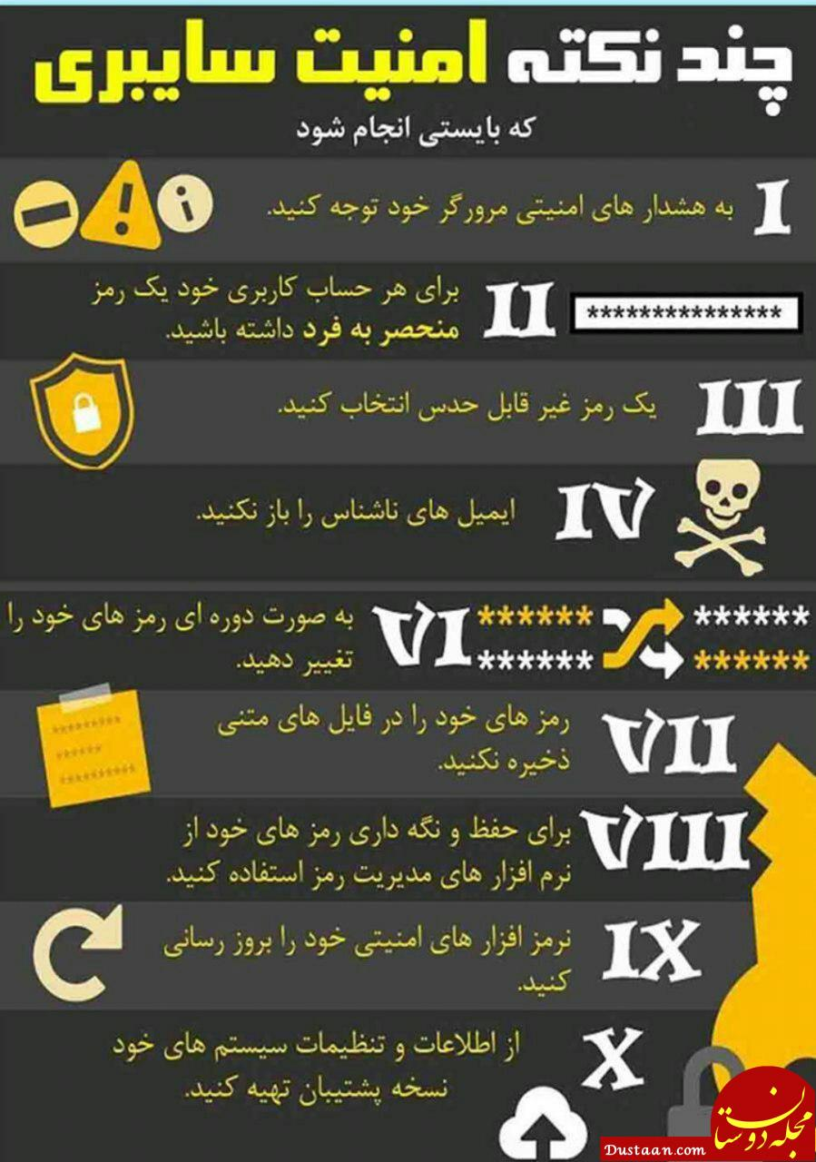 www.dustaan.com چند نکته بسیار مهم درباره امنیت سایبری