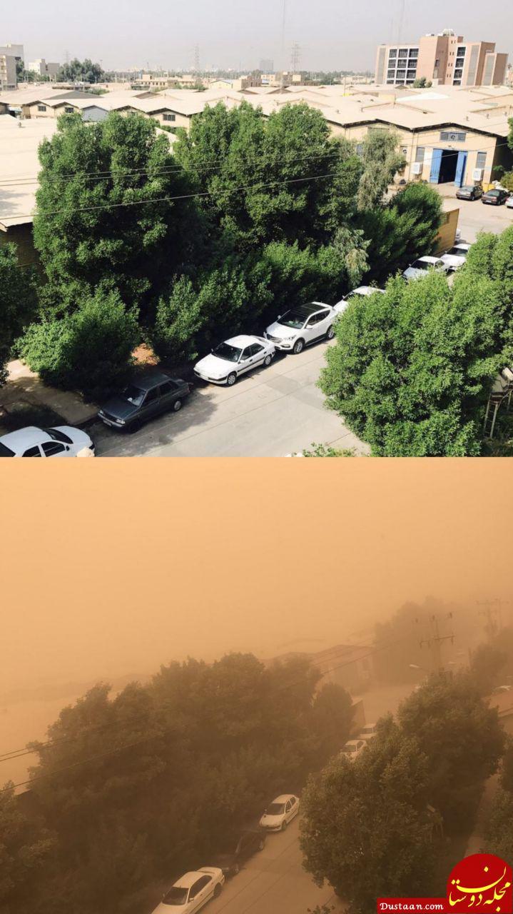 www.dustaan.com گرد و غبار شدید در اهواز به روایت تصویر