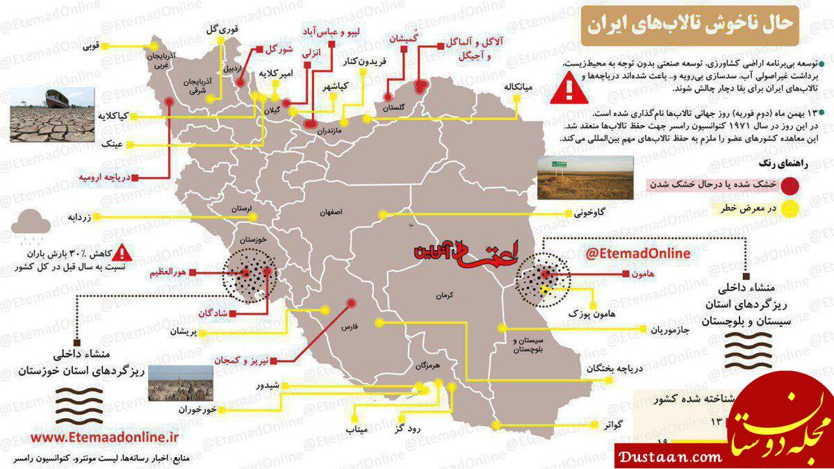 www.dustaan.com وضعیت نامناسب تالاب های ایران در یک نگاه +عکس