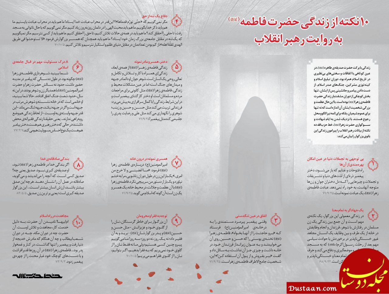 www.dustaan.com ۱۰ نکته از زندگی حضرت فاطمه (س) به روایت رهبر انقلاب
