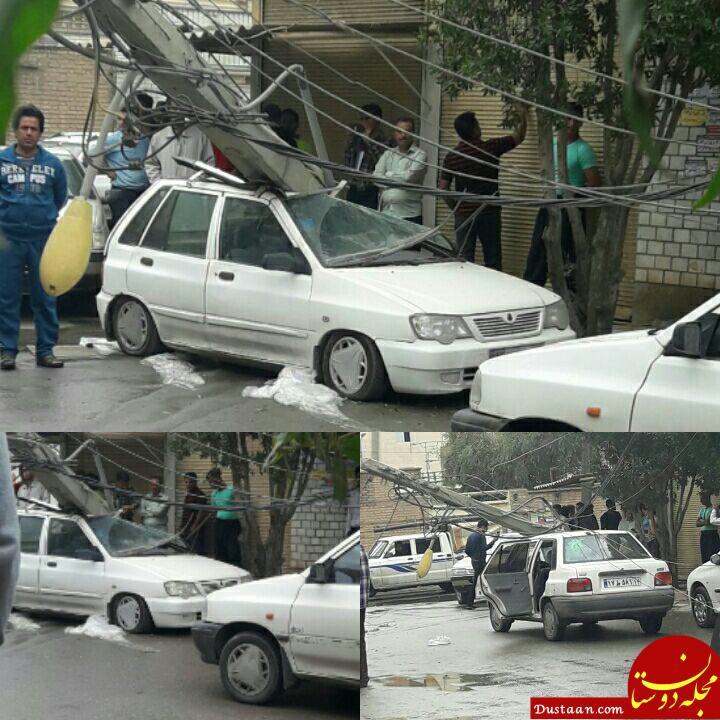 www.dustaan.com سقوط پایه برق بر روی پراید در منطقه باهنر اهواز +تصاویر