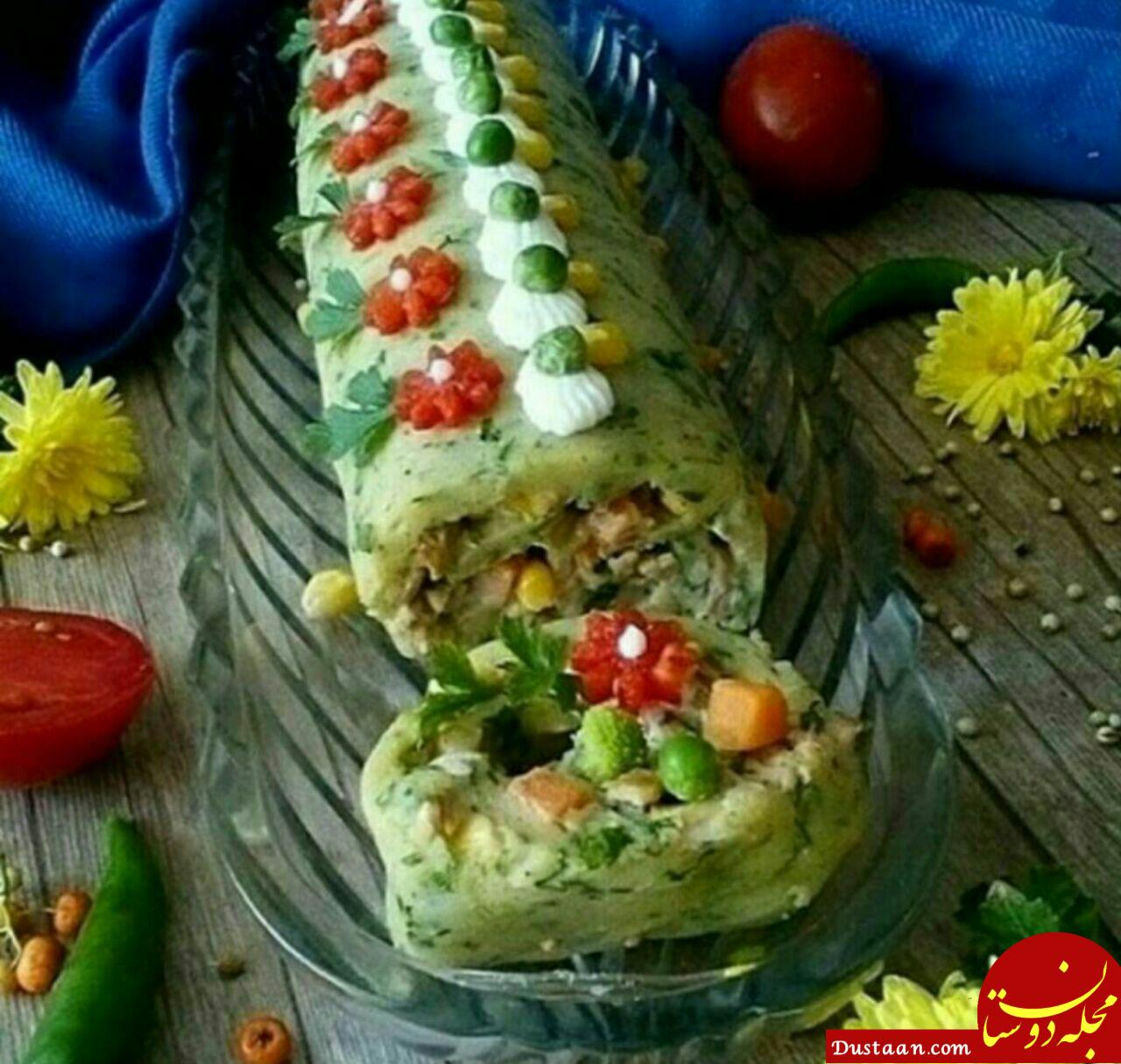 www.dustaan.com طرز تهیه رول سیب زمینی به سبکی خوشمزه