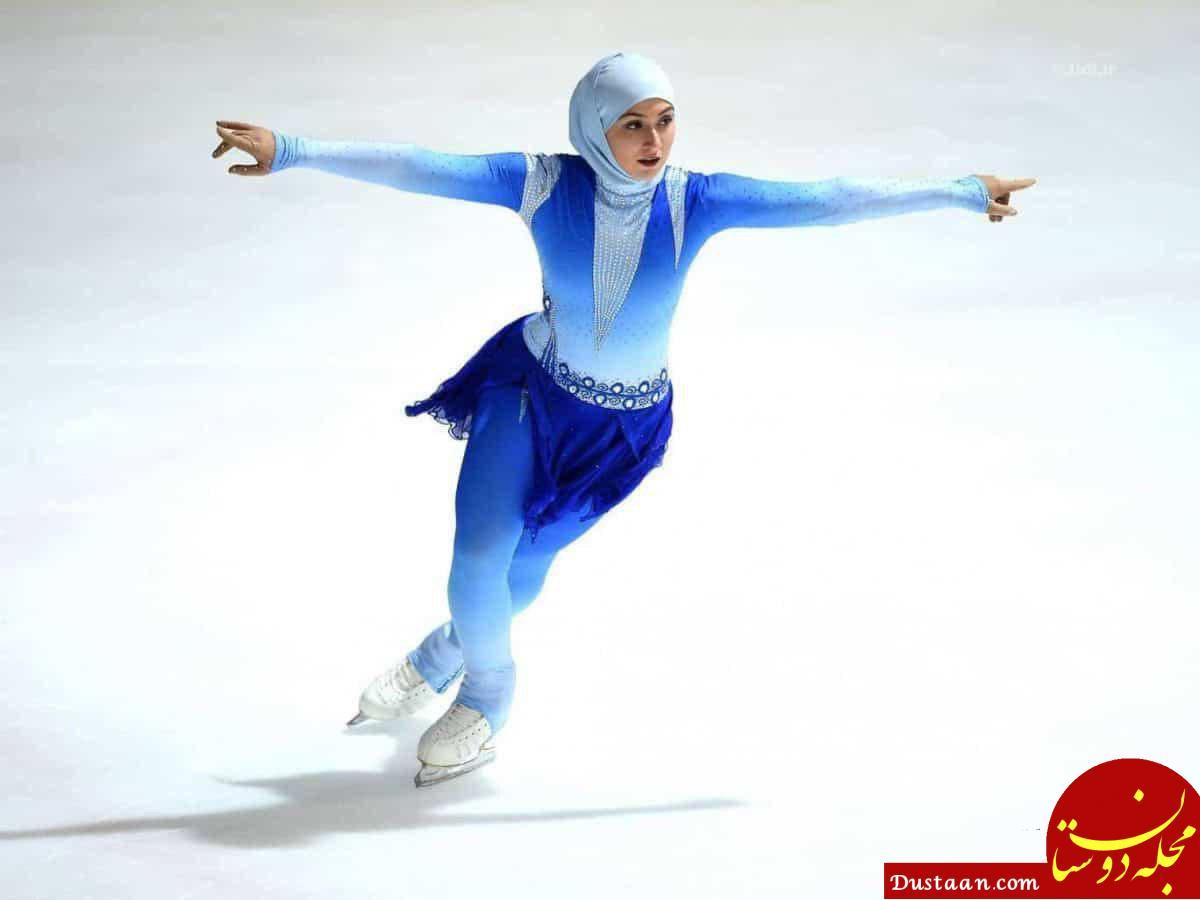 www.dustaan.com پوشش زهرا لاری ورزشکار محجبه اماراتی در بازی های زمستانی