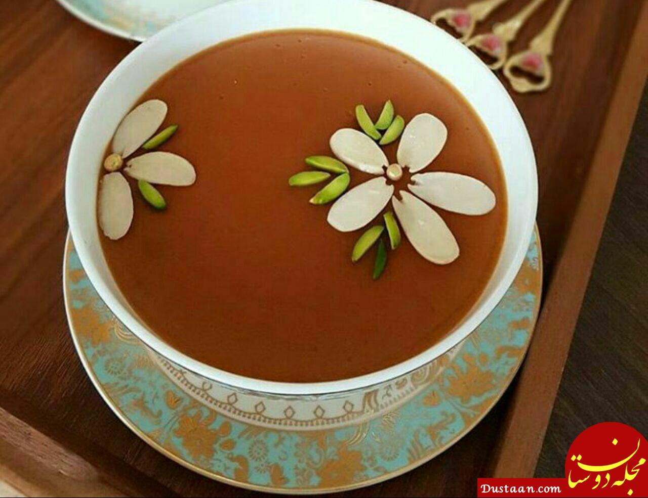 www.dustaan.com طرز تهیه فرنی با شیره خرما به سبکی خوشمزه