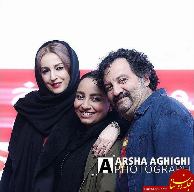 www.dustaan.com چهره خندان مهراب قاسم خانی، همسر و دخترش در اکران یک فیلم!