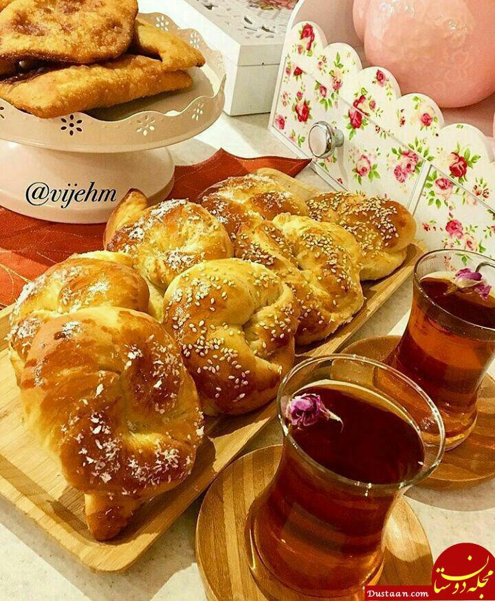 www.dustaan.com طرز تهیه نان شیرین صبحانه و عصرانه به سبکی خوشمزه