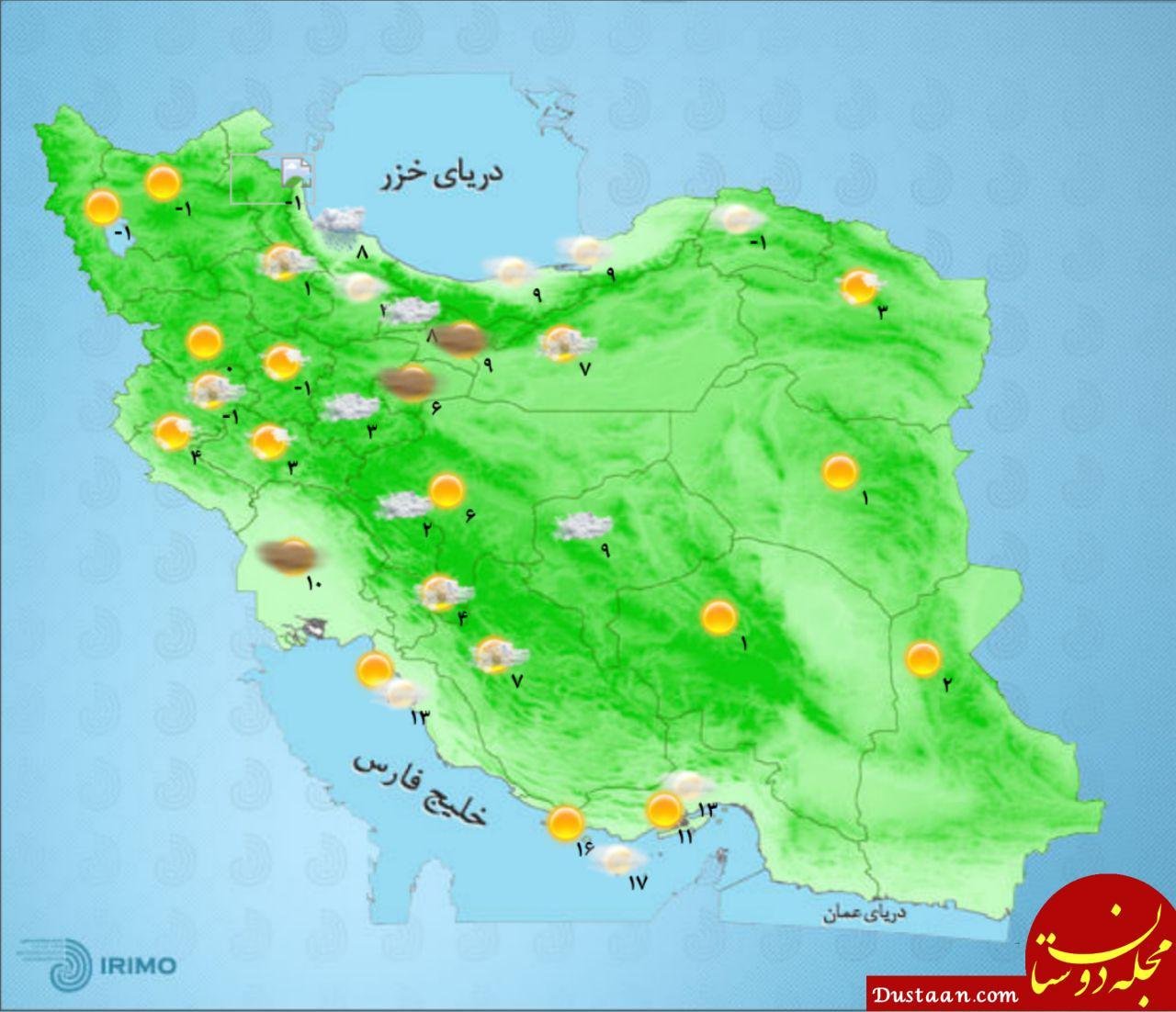 چهارشنبه 18 بهمن؛ نقشه دمای مراکز استان ها/ کیفیت هوای تهران