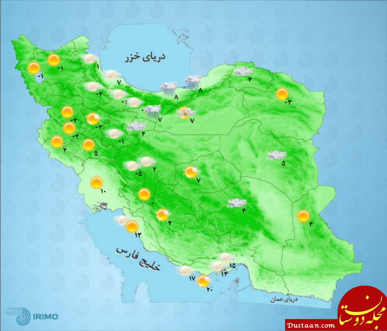 پنجشنبه 19 بهمن/ نقشه دمای مراکز استان ها / هوای تهران در شرایط سالم