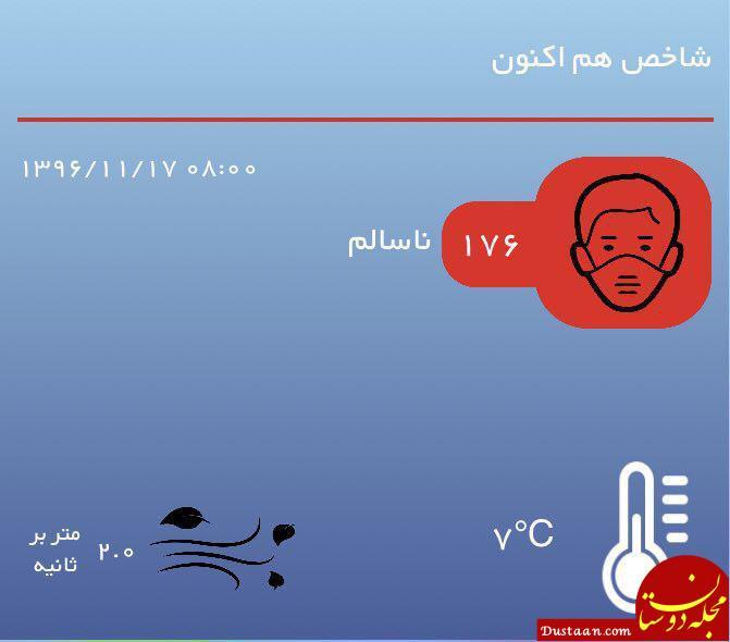 سه شنبه 17 بهمن / نقشه دمای مراکز استانها / کیفیت هوای تهران