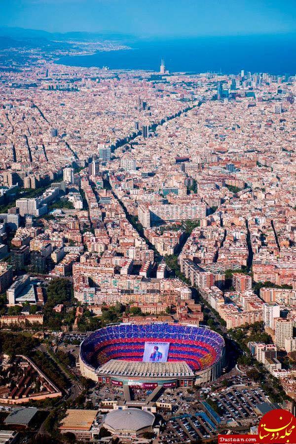 نمایی بسیار زیبا از ورزشگاه نیوکمپ و ایالت کاتالونیا +عکس