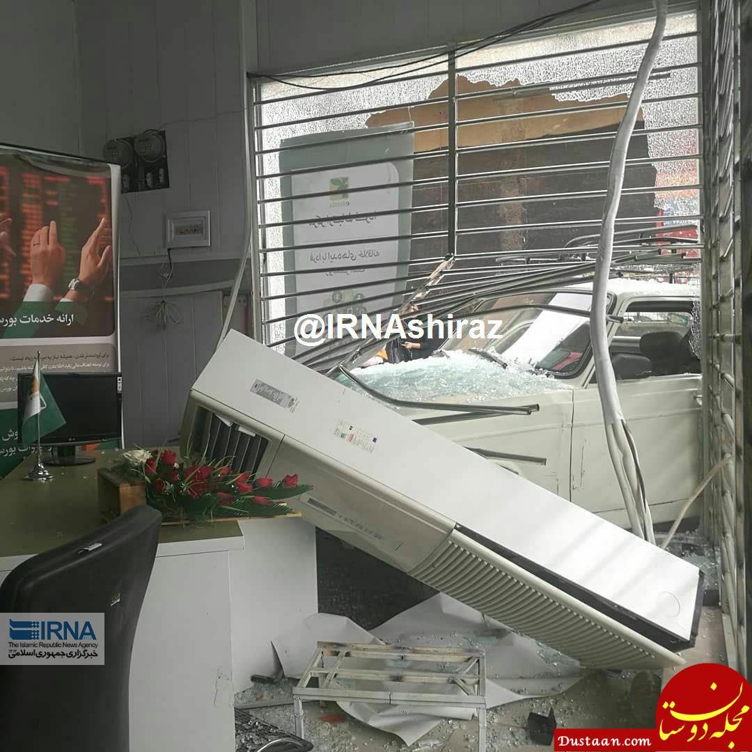 www.dustaan.com ورود وانت به ساختمان یک بانک در داراب! +عکس