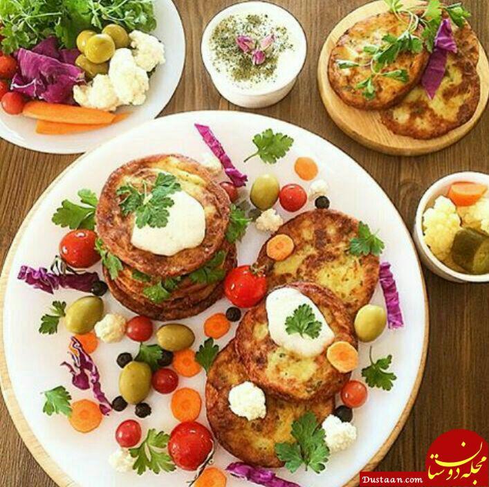 www.dustaan.com طرز تهیه پنکیک سیب زمینى و پنیر چدار