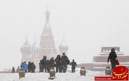 بارش برف مسکو را سفیدپوش کرد + تصاویر