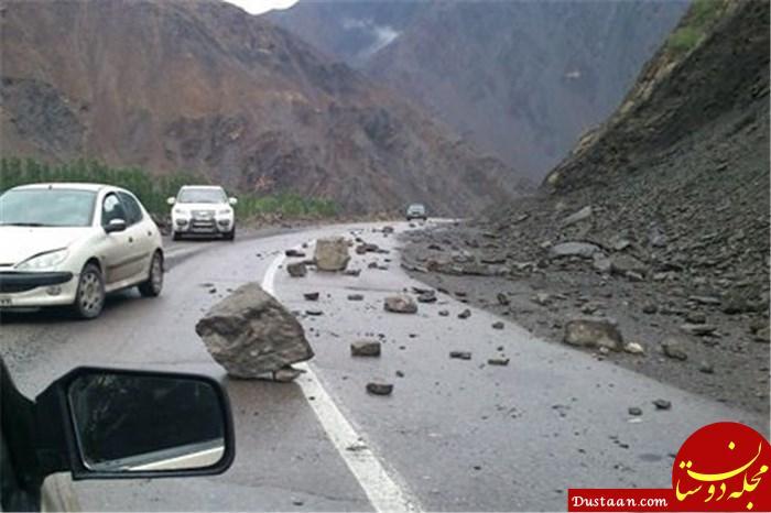 www.dustaan.com خطر رانش کوه و ریزش بهمن در جاده چالوس