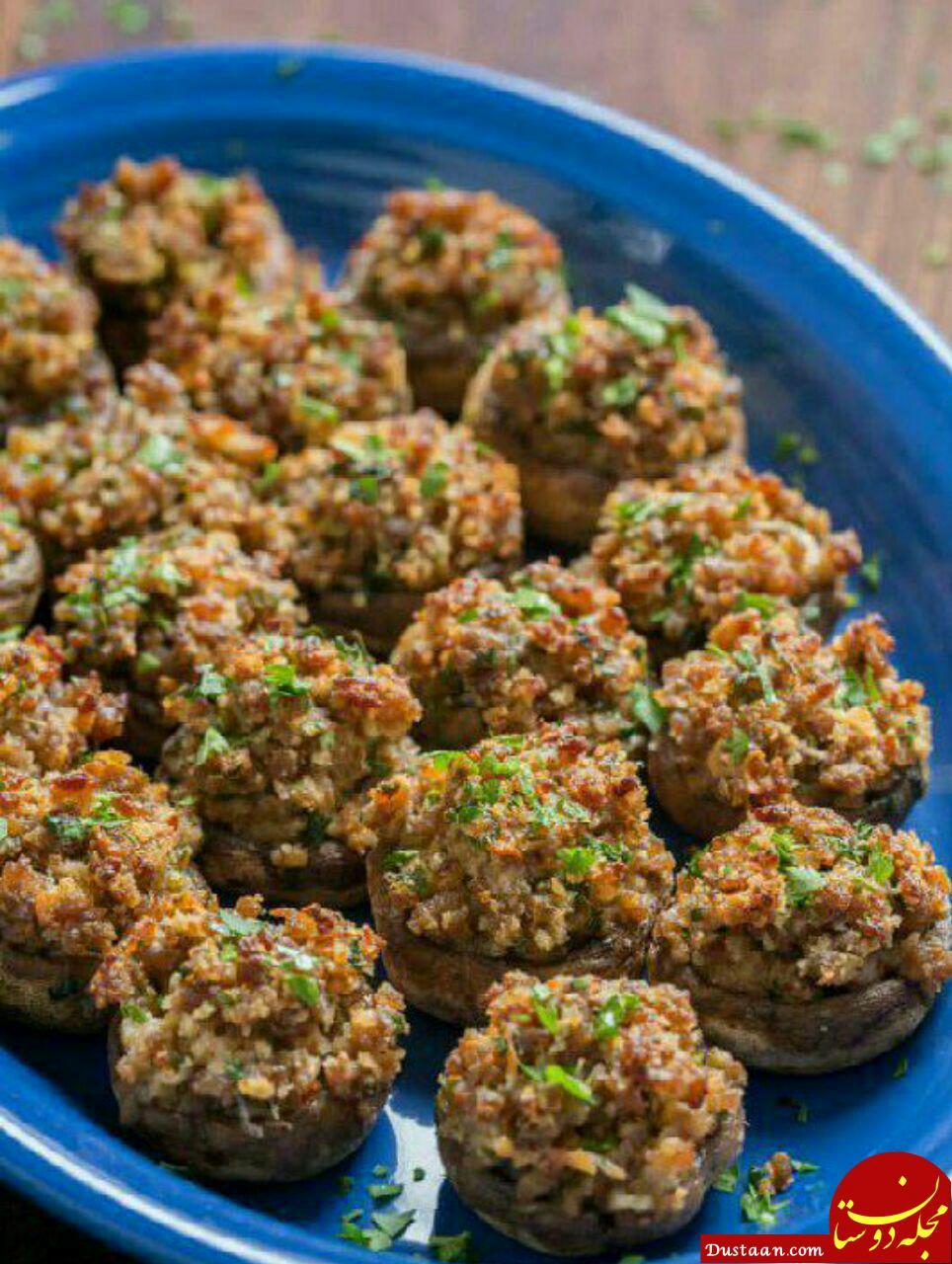 www.dustaan.com طرز تهیه قارچ شکم پر در فر به سبکی خوشمزه و متفاوت