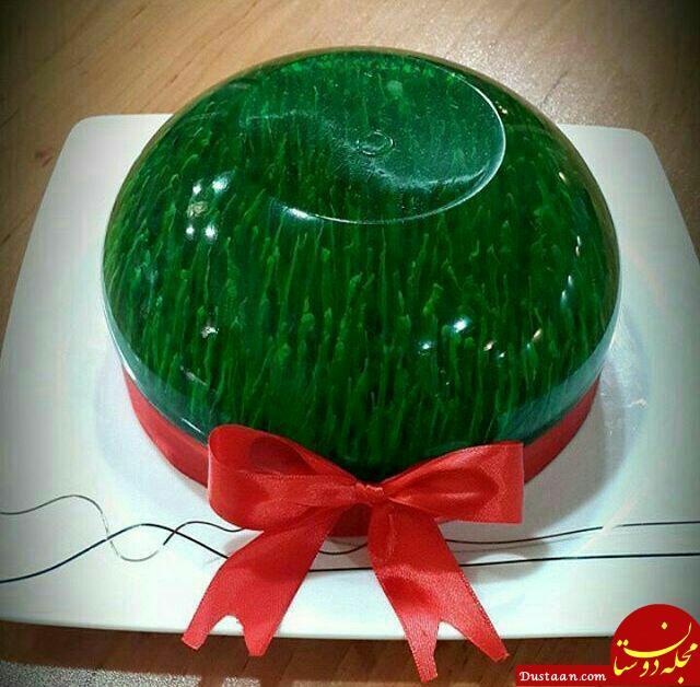 www.dustaan.com طرز تهیه ژله به شکل سبزه برای نوروز