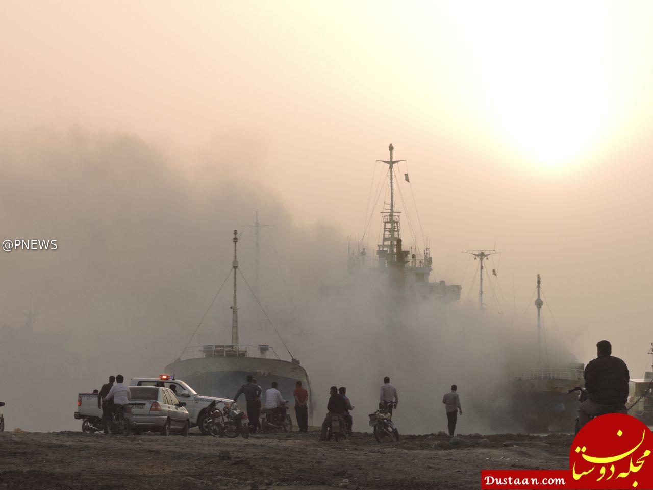 www.dustaan.com آتش گرفتن یک کشتی باری در ساحل گناوه +عکس