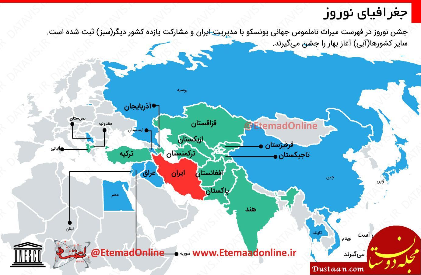 www.dustaan.com نوروز را کدام کشورها جشن می گیرند؟ +اینفوگرافیک