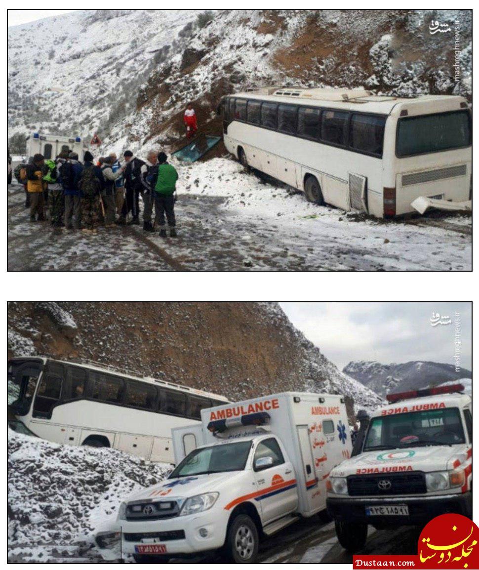 www.dustaan.com برخورد اتوبوس مسافربری با کوه در گردنه برفی حیران +عکس