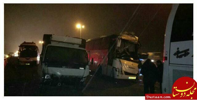 www.dustaan.com ۱۵ کشته و مصدوم در تصادف ۵ خودرو در اتوبان کرج   قزوین +عکس